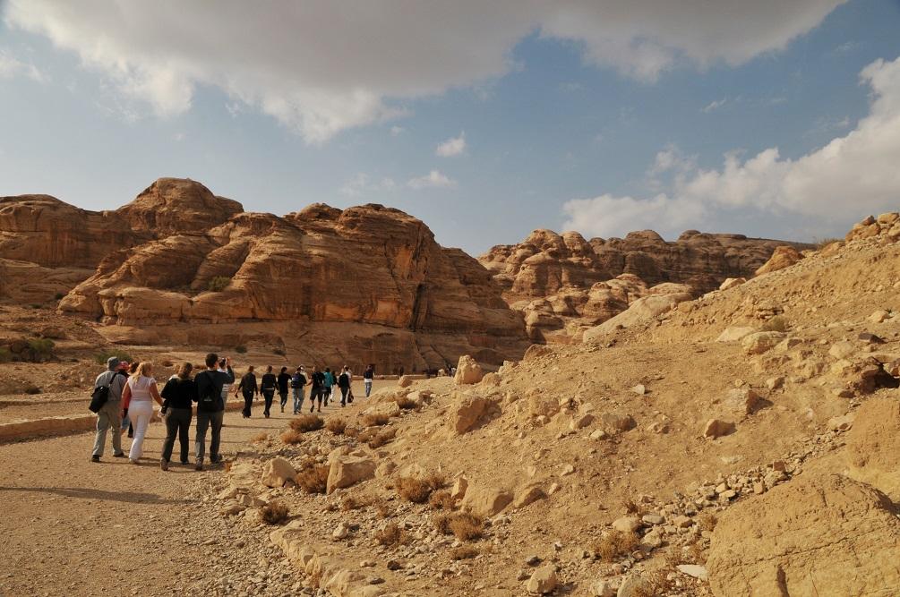 Petra, Jordan. Tourists visiting Petra.