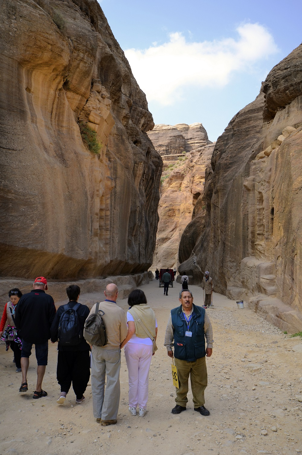 Tourists and tour guide in Petra Jordan