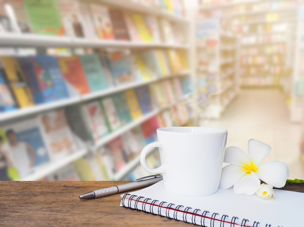 Cofee with books background